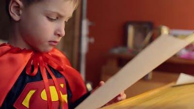 Little Boy Draws Superman.