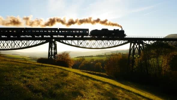 Thumbnail for Old Retro Vintage Locomotive Train Crossing Railroad Bridge