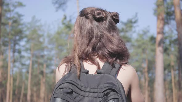 Thumbnail for Portrait Scared Pretty Young Woman Gets Lost in the Forest, She Calling for the Help. The Girl