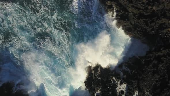 Aerial Of Waves Crashing In To The Shore