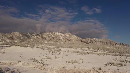 Aerial shot of the mountains near Boulder Colorado