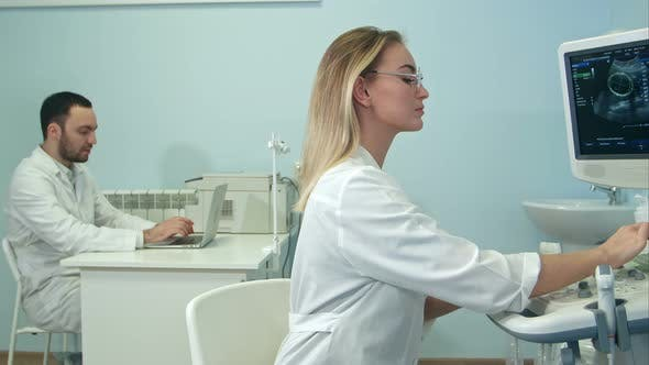 Thumbnail for Female Doctor Dictating Ultrasound Results To Her Male Colleague with Laptop