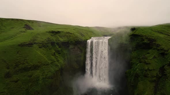 Thumbnail for Aerial view above of Skogafoss waterfall on the southern region of Iceland.