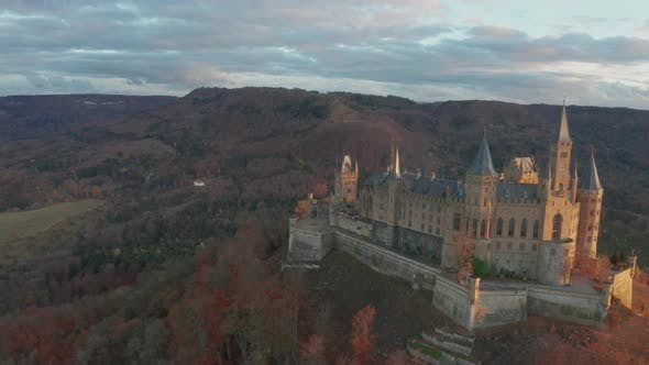 Thumbnail for Aerial View of Hohenzollern Castle During Bright Sunset, Germany in the Fall