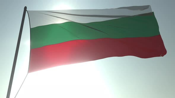 Thumbnail for Waving Flag of Bulgaria Against Shining Sun and Sky