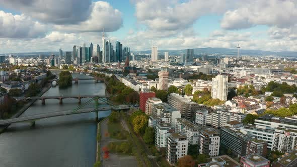 Thumbnail for Aerial of the Skyline of Frankfurt, the Financial Capital of Germany