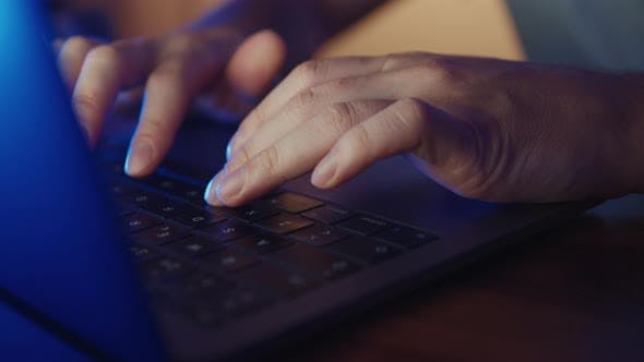 Thumbnail for Close Up of Hands of Business Person or Gamer Working on Computer, Man Using Internet and Social
