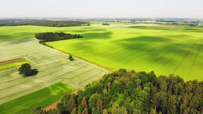 Aerial View Greenery And Farm Land In Europe