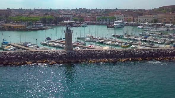 Thumbnail for Aerial View of Boats and Lighthouse in Lake Garda, Italy