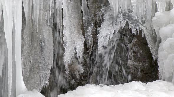 Icicles Edge to the Frozen Waterfall