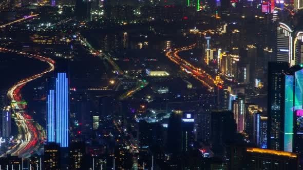 Thumbnail for Shenzhen China Urban Cityscape Aerial Skyline Panorama Timelapse at Night Pan Up