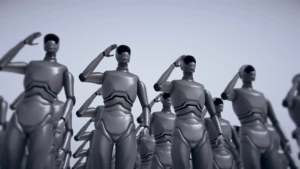 Robot Soldiers Standing And Saluting Future Technology Military Artificial Intelligence Concept 4k