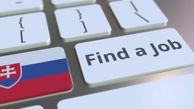 FIND A JOB Text and Flag of Slovakia on the Keys