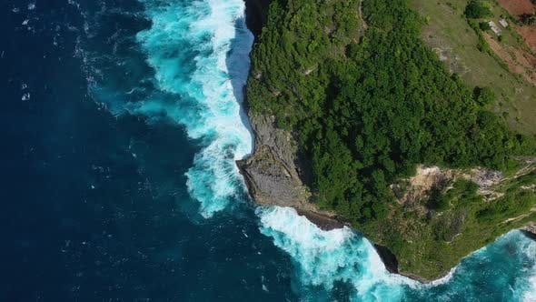 Kelingking beach, Nusa Penida, Bali, Indonesia, Aerial view at sea and rocks