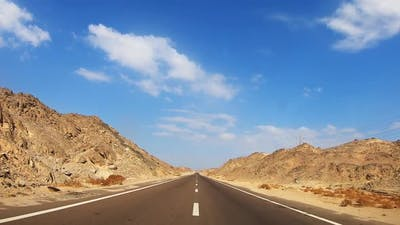 Road Through Desert and Mountains in Egypt