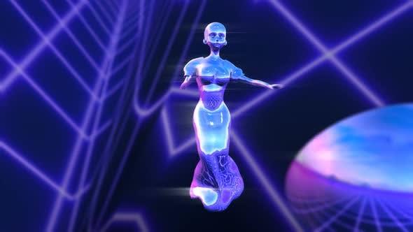 Feminine robot dancing