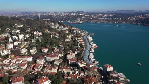 Thumbnail for Istanbul Bebek Bosphorus Aerial View And Bridge