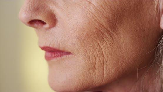 Thumbnail for Elderly woman face wringkles closeup