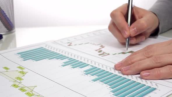 Businessman Analyzes Report