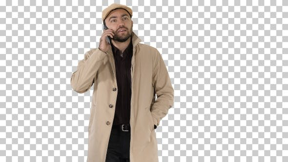 Thumbnail for Man dressed in trench making business, Alpha Channel