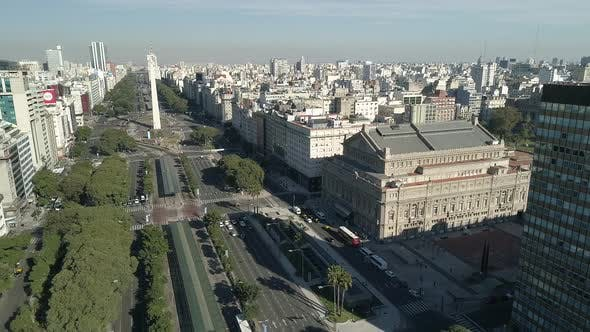 Aerial Drone Scene of Buenos Aires - Argentina - Colon Theater, Avenue and Obelisk