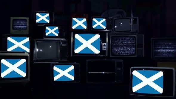 Thumbnail for Flag of Scotland and Retro TVs.
