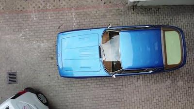 Sports car aerial view