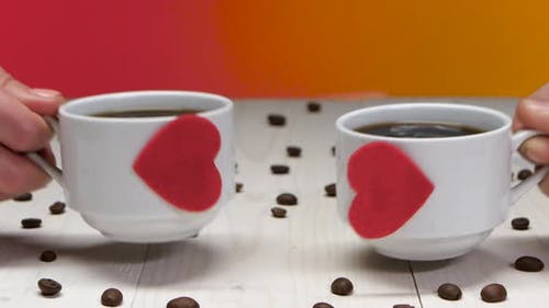 Two Cups of Coffee for Sweethearts. Romance in Valentine's Day