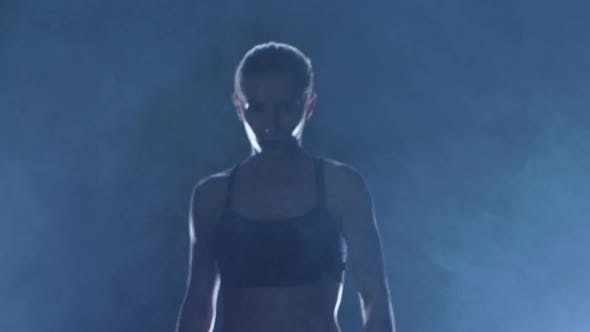 Thumbnail for Coming Out Woman Boxer Which Has Muscular Body. Slow Motion
