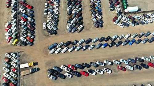 Aerial View Large Parking Many Cars Distribution Auction Center of Modern Logistics Supplies