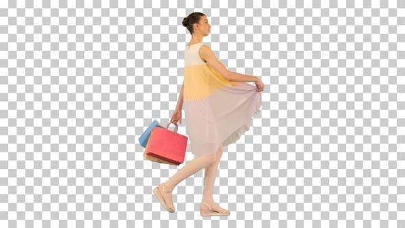 Teenager girl in a summer dress walking, Alpha Channel