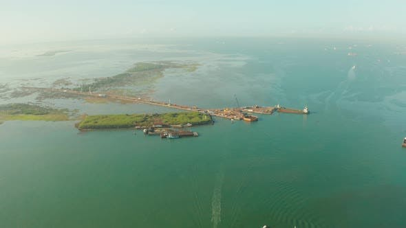 Thumbnail for Sea Port of Cebu Island with Ships, View From Above