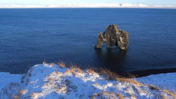 Thumbnail for Iceland View Of Hvitserkur Rock Formation In Ocean During Winter 3