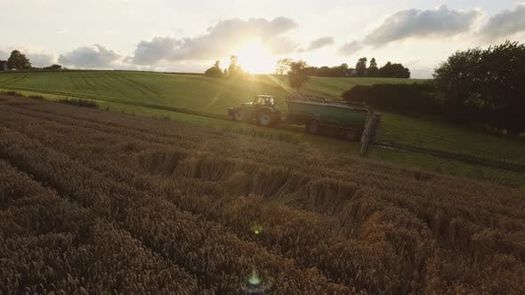 Thumbnail for Tractor Slowly Cultivating the Lush Green Fields with Sun Flare in Frame