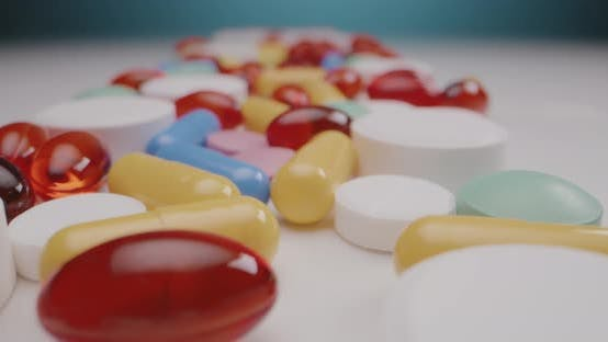 Pills Spread on Tabletop