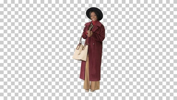 Thumbnail for African american fashion girl in coat, Alpha Channel