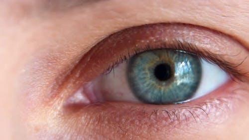 Close Up Makro Auge Schöne Blaue Iris Natürliche Schönheit