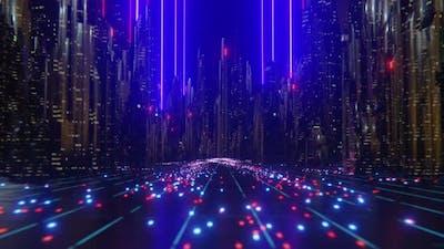 Futuristic City Laser Beams
