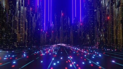 Futuristische Stadt-Laserstrahlen