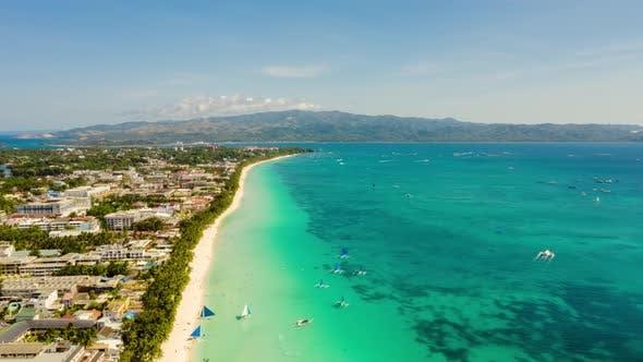 Thumbnail for Boracay Island with White Sandy Beach, Philippines. Timelapse