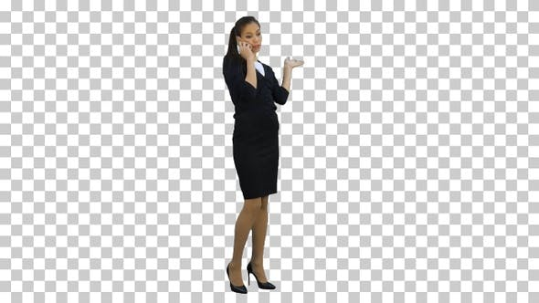 Happy confident businesswoman having cheerful, Alpha Channel
