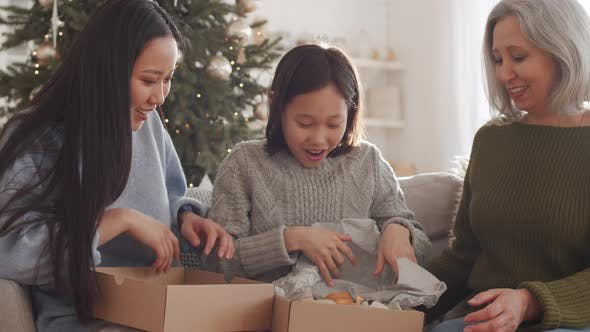 Thumbnail for Happy Asian Girl Receiving Bear Toy for Christmas from Family