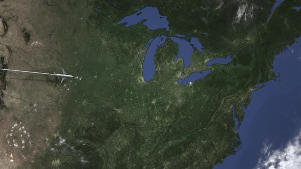 Plane Arriving To Cleveland United States