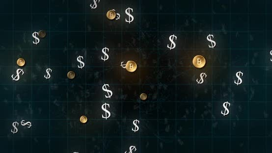 American dollar symbol and bitcoin symbols moving over grid against black background