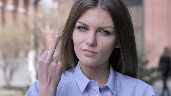 Thumbnail for Angry Woman Showing Middle Finger, Outdoor