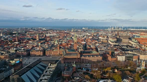 Thumbnail for Drone Shot of Copenhagen's City Center and a View of the Busy Streets