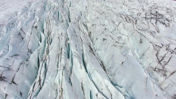Thumbnail for Icelandic Glacier, Ash, Cracks and Crevasses. Iceland. Aerial View