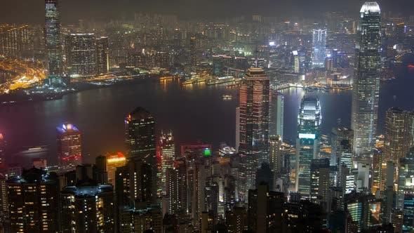 Thumbnail for Hong Kong Skyline Urban Panorama at Night Time Lapse China