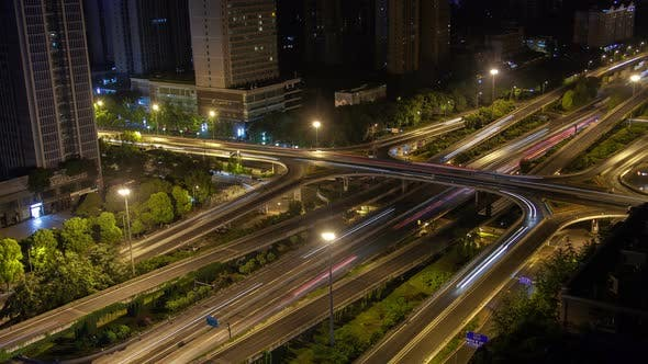 Chengdu Roadway Interchange Traffic Aerial China