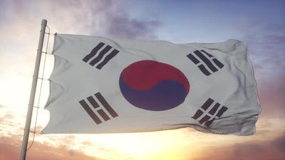 South Korean Flag Waving in the Wind